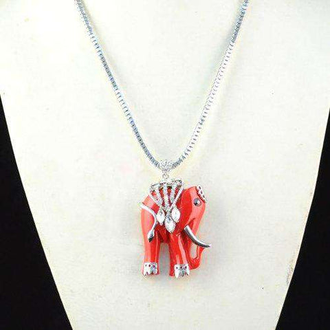 Image of Red Indian Elephant Necklace - Green Earth Animals