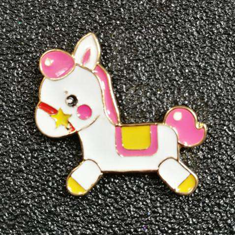 Pink Hobby Horse Pin - Green Earth Animals