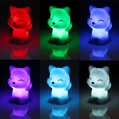 Image of Cute Cat Changing Colors LED Night Light - Green Earth Animals