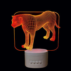 3D Cheetah LED Changing Colors Lamp Speaker