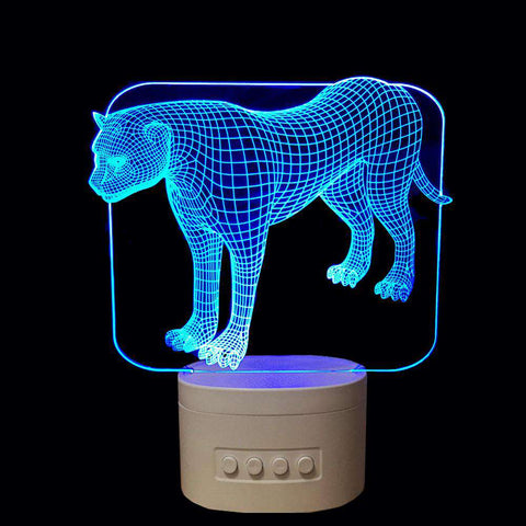 3D Cheetah LED Changing Colors Lamp Speaker - Green Earth Animals