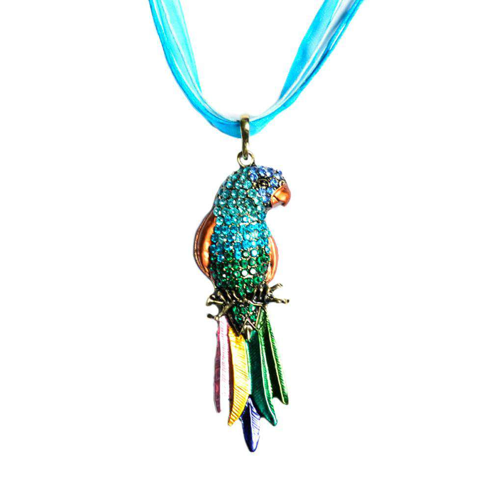 Crystal Parrot Pendant Necklace - Green Earth Animals