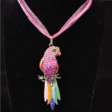 Image of Crystal Parrot Pendant Necklace - Green Earth Animals
