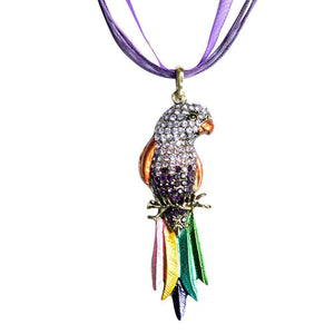 Crystal Parrot Pendant Necklace