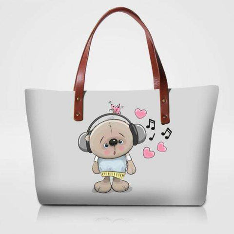 Bear and Butterfly Music Heart Tote Bag