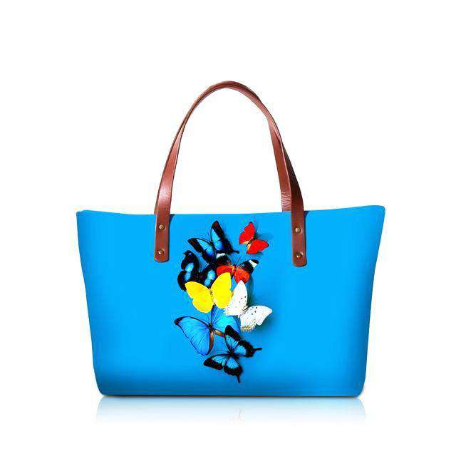 Blue Butterfly Top Handle Bags