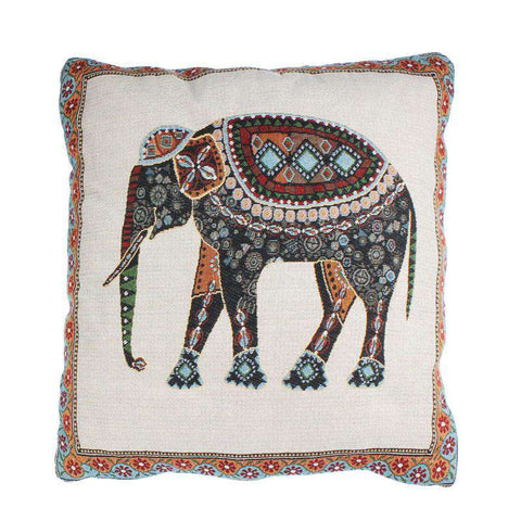 Image of Decorative Elephant Pillow Cover - Green Earth Animals