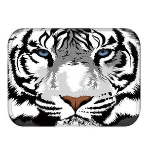 White Tiger Floor Mat - Green Earth Animals