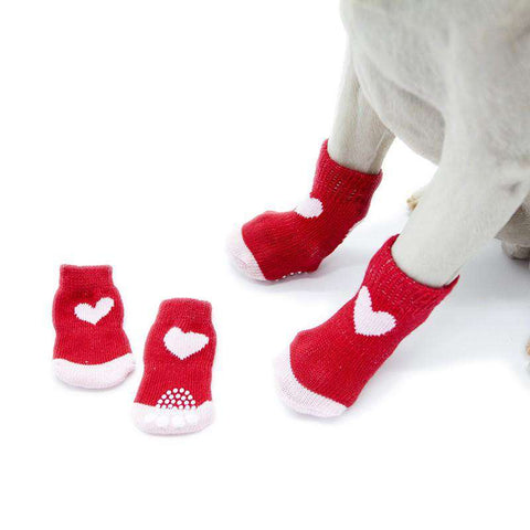 Image of Red Heart Non-slip Dog Socks - Green Earth Animals