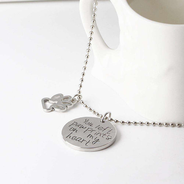 Pet Paw Memorial Necklace - Green Earth Animals