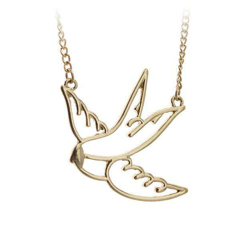 Swallow Bird Choker Necklace - Green Earth Animals