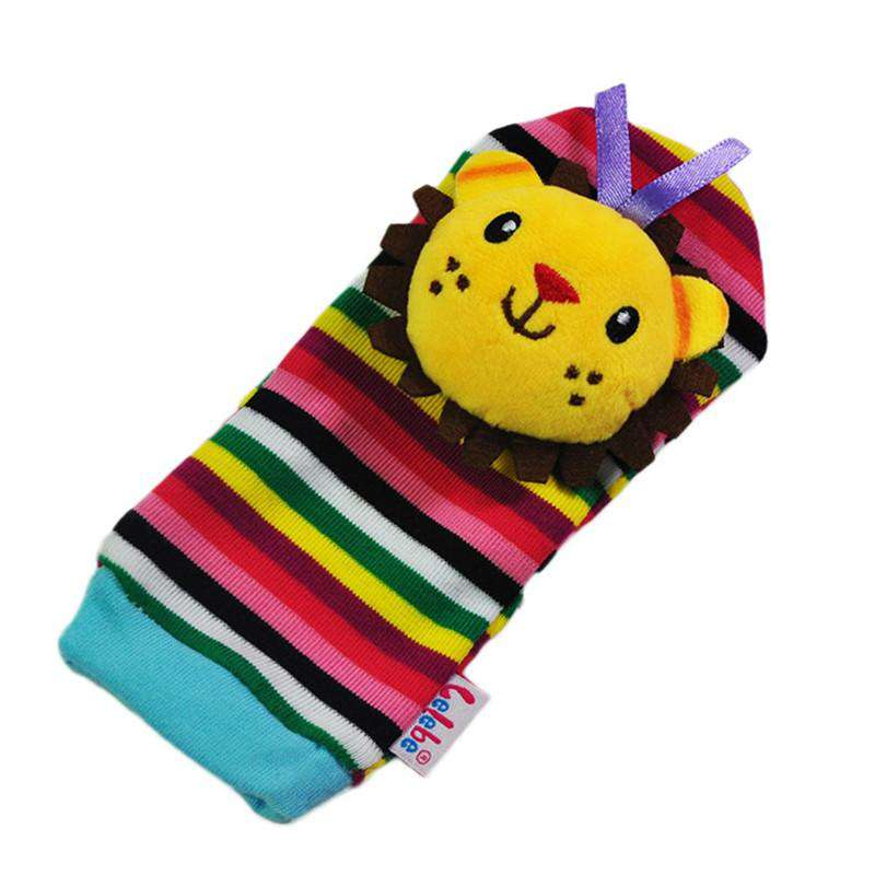 Plush Lion & Elephant Rattle Baby Socks - Green Earth Animals