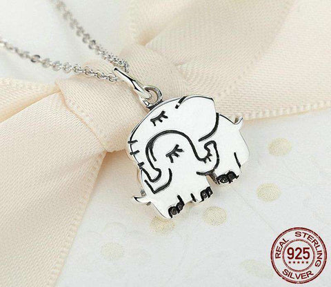 Image of Sterling Silver Elephant Hug Necklace - Green Earth Animals
