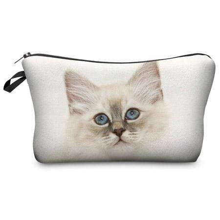White Kitten Travel Makeup Bag - Green Earth Animals