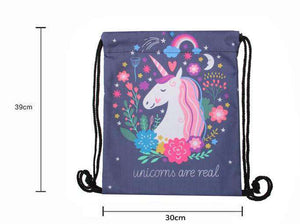 Unicorns Are Real Drawstring Knapsack Bag