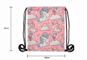 Pink Unicorn and Rainbows Drawstring Knapsack
