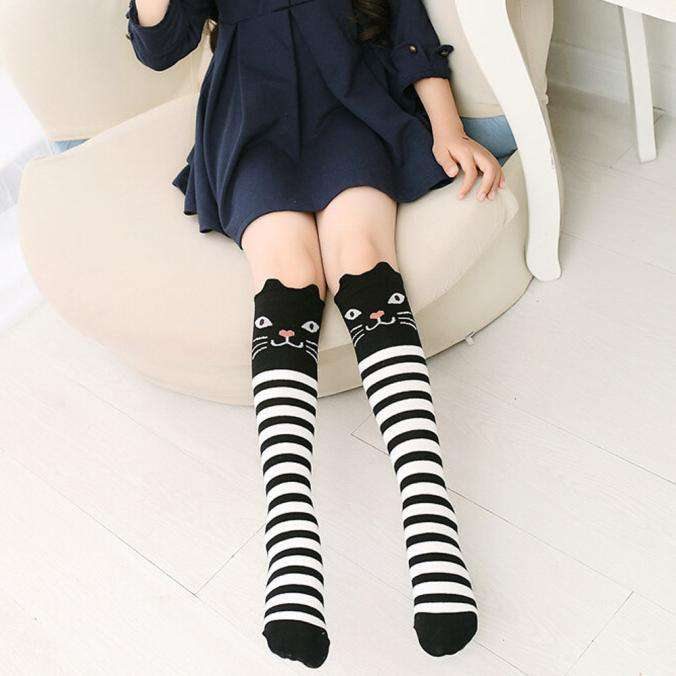 Kids Striped Black Cat Socks - Green Earth Animals