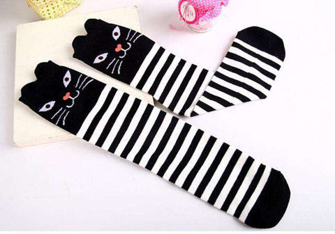 Image of Kids Striped Black Cat Socks - Green Earth Animals
