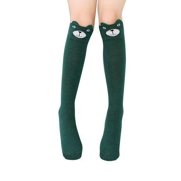 Kids Green Cat Socks - Green Earth Animals