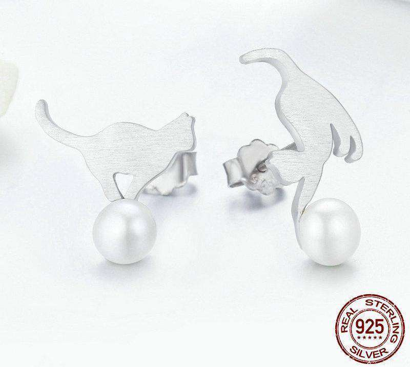 Cute Cat Sterling Silver & Pearls Stud Earrings - Green Earth Animals