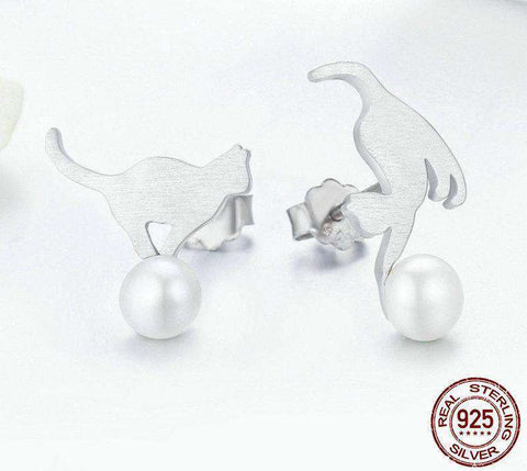 Image of Cute Cat Sterling Silver & Pearls Stud Earrings - Green Earth Animals
