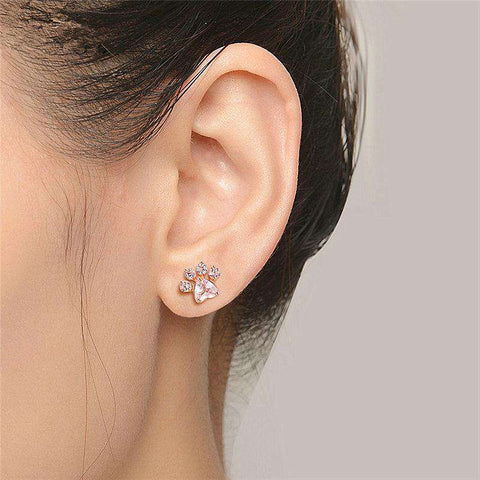 Image of Cute Dog Paw Earrings - Green Earth Animals