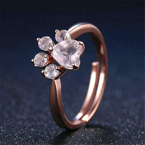 Dog Paw Rose Gold Ring - Green Earth Animals