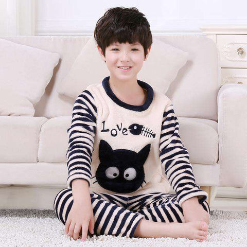 Image of Black Cat Kids Pajamas - Green Earth Animals