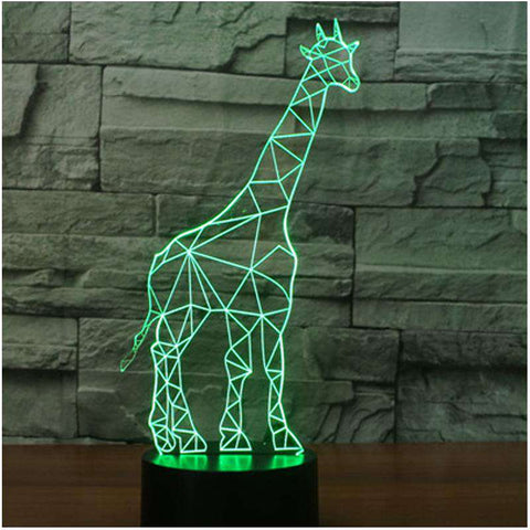 3D Geometric Giraffe LED Changing Colors Lamp - Green Earth Animals