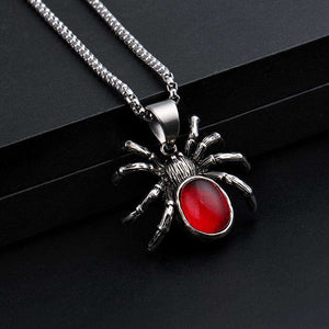 Vintage Red Crystal Spider Chain Necklace