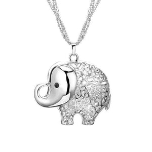 Cute Elephant Crystal Pendant Necklace