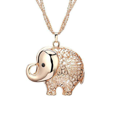 Cute Elephant Crystal Pendant Necklace - Green Earth Animals