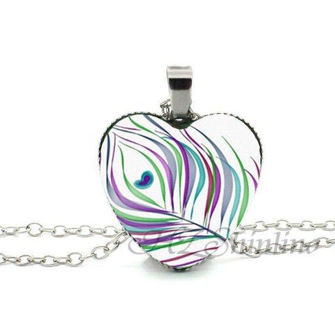 Glass Heart Peacock Feather Necklace