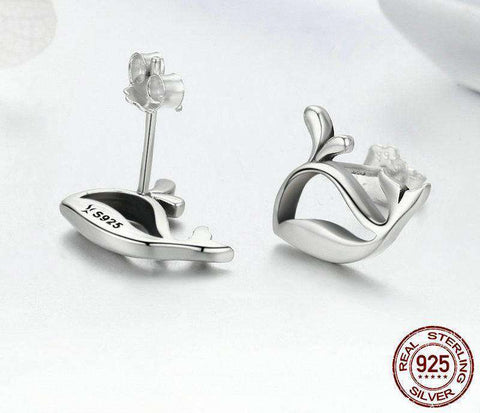 Sterling Silver Whale Earrings - Green Earth Animals