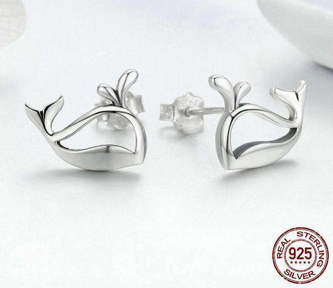 Image of Sterling Silver Whale Earrings - Green Earth Animals