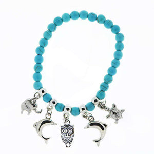 Turquoise Animal Charm Bracelet - Green Earth Animals