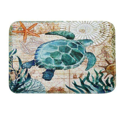 Image of Ocean Sea Turtle Bath Mat - Green Earth Animals