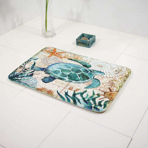 Ocean Sea Turtle Bath Mat - Green Earth Animals