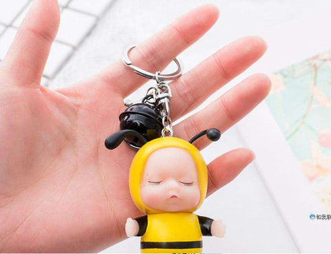 Sleeping Baby Bee Keychain