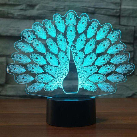 Image of 3D Peacock Color Changing LED Lamp - Green Earth Animals