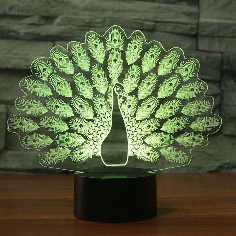 3D Peacock Color Changing LED Lamp - Green Earth Animals