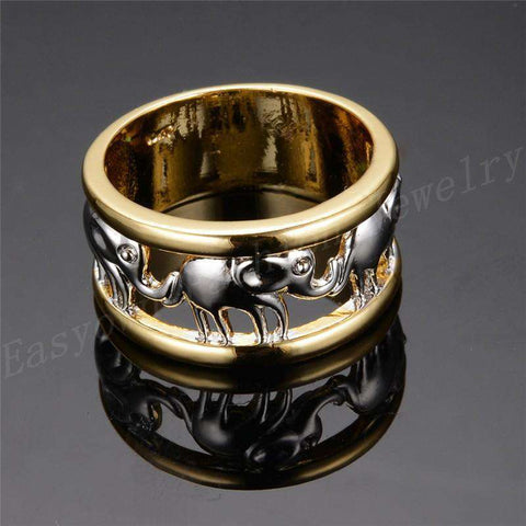 Image of Elephants White Gold Ring - Green Earth Animals