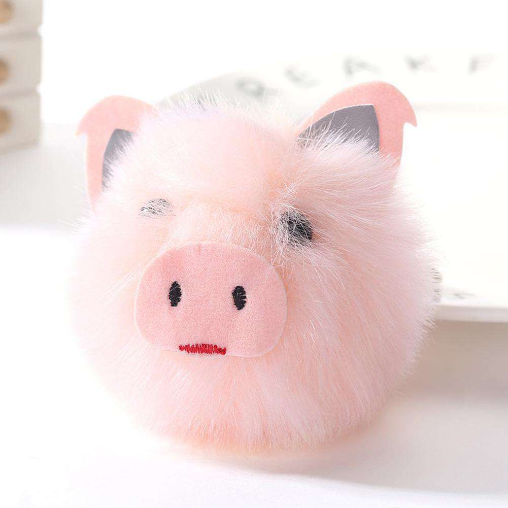 Faux Fur Pink Pig Keychain - Green Earth Animals