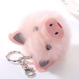 Faux Fur Pink Pig Keychain