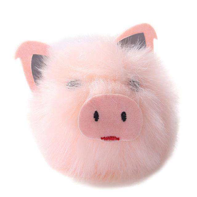 Faux Fur Pink Pig Keychain - Green Earth Animals. Tap to expand 22b27807e32b