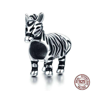 Sterling Silver Zebra Jewelry Charm - Green Earth Animals