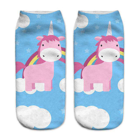 Image of Women's Colorful Unicorn Socks - Green Earth Animals