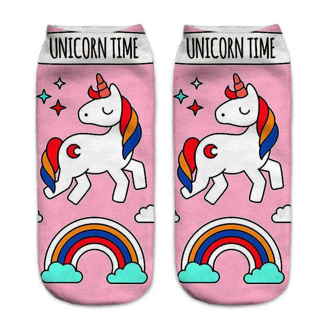 Women's Colorful Unicorn Socks - Green Earth Animals