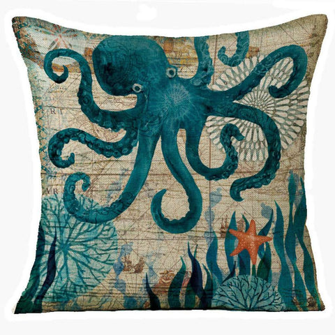 Image of Marine Seahorse Pillow Cover - Green Earth Animals