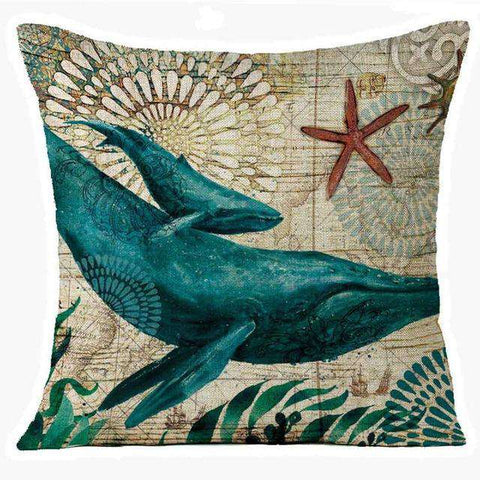 Marine Whale Pillow Cover - Green Earth Animals